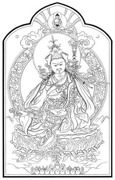 Guru Rinpoche (Padmasambhava) Budha Painting, Thangka Painting, Buddhist Symbols, Buddhist Art, Buddhist Wheel Of Life, Dagger Drawing, Tibet Art, Vajrayana Buddhism, 17th Century Art