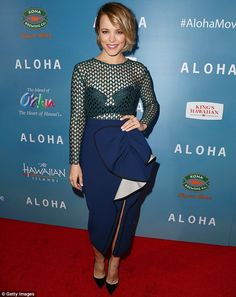 Rachel McAdams in mesh top outshines Emma Stone at Aloha premiere #dailymail
