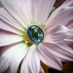 London Blue Topaz set into rose gold is trending. We are loving this #allisonkaufman designed ring.