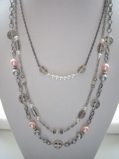 Antique Silver Triple Chain Necklace with Vintage Pink Grey White Pearls Clear Swarovski Crystals Oval and Round Carved Antique Silver Beads