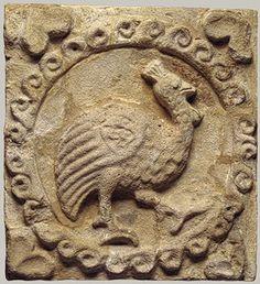 Wall panel with a guinea fowl, ca. 6th century a.d.; Sasanian. Mesopotamia, Ctesiphon. Stucco .