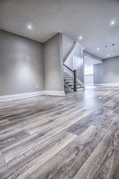 Basement Wall Colors, Gray Basement, Basement Living Rooms, Modern Basement, Basement House, Living Room Flooring, Best Basement Flooring, Basement Furniture, Basement Makeover