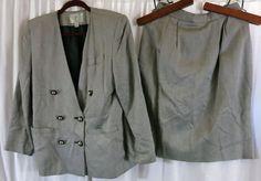 Amanda Smith Gray Herringbone 10 Double Breast Skirt Suit Rayon Wear to Work #AmandaSmith #SkirtSuit