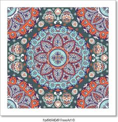 Bohemian Indian Mandala print. Vintage Henna tattoo style - Paper Print - Art Print from FreeArt.com Mandala Towel, Indian Mandala, Mandala Print, Free Art Prints, Pattern Art, Henna, Coloring Books, Illustration Art, Canvas Prints