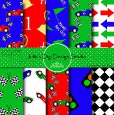 Use for wall decor??  Racing Cars Digital Paper Pack  10 Digital by Juliasdigidesign, $4.00