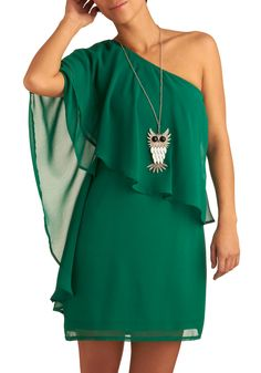 A Breath of Fresh Flair Dress - Green, Solid, Ruffles, Party, Sheath / Shift, One Shoulder, Spring, Fall, Mid-length