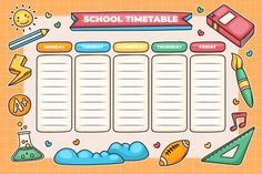 Timetable Planner, Timetable Template, School Timetable, Weekly Planner Printable, Planner Pages, School Template, Tracker Free, English Worksheets For Kids, School Clipart