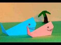 Simple origami for kids. Origami Whale. - YouTube