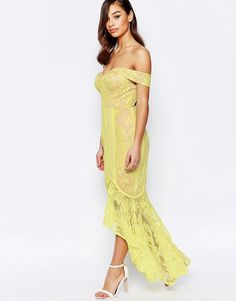 Image 4 of Jarlo Petite Allover Lace Crochet Off Shoulder Maxi Dress