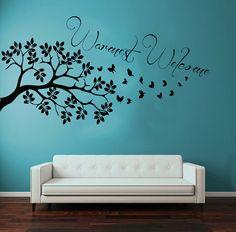 Alberi a parete Decals albero ramo più caldi farfalla benvenuto soggiorno arredamento floreale vinile Decal Sticker arte murale dormitorio Decor KG775