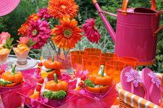 la decoración de mis mesas: Colores para la mesa: Fucsia y Naranja