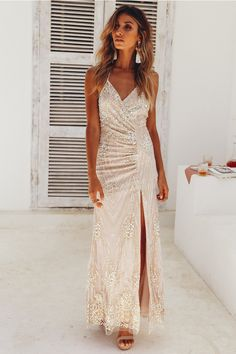 Lobby Conversations Maxi Dress Champagne 30fb30016