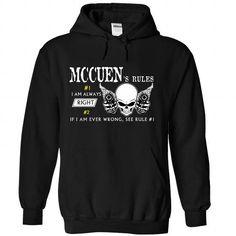 MCCUEN Rule - #mens shirt #family shirt. SATISFACTION GUARANTEED => https://www.sunfrog.com/Valentines/MCCUEN-Rule-Black-54171779-Hoodie.html?68278