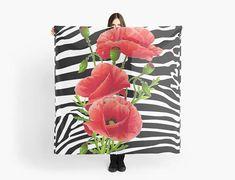 Zebra stripes Red Poppies scarf/wrap Foulard /carré 140 Red Poppies, Scarf Wrap, Stripes, Etsy, Vintage, Art, Square Scarf, Handmade Gifts, Unique Jewelry