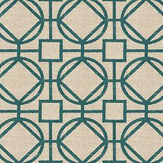 Teal geometric trellis on thick natural cotton. A bold statement of modern meets rustic.Recover your chair. Upholster a wall. Create a framed piece of art. Sew