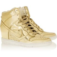 Nike Dunk Sky Hi metallic leather wedge sneakers ($220) ❤ liked on Polyvore featuring shoes, sneakers, nike, zapatillas, nike sneakers, studded lace-up wedge sneakers, lace up sneakers, perforated sneakers and metallic wedge sneakers