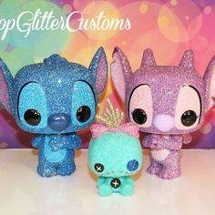 Custom Glittered Stitch, Angel, and Scrump Funko Pop Set! Pop Custom, Custom Funko Pop, Lelo And Stitch, Pop Disney, Funko Pop Dolls, Stitch And Angel, Cute Stitch, Figurine Pop, Pop Toys