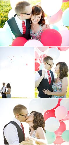 I want a balloon filled engagement shoot. Love the colors in this one too!