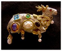 RARE Early KJL Kenneth Jay Lane Jeweled Reindeer Brooch
