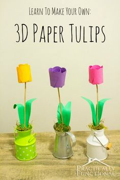 How To Make Paper Flowers: 3D Paper Tulips | Practically Functional #Silhouette