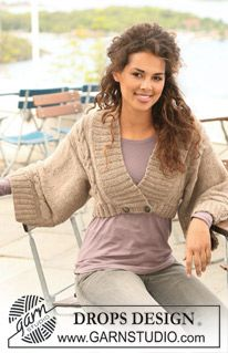 """Knitted DROPS jacket with cables and shawl collar in 2 strands """"Alpaca"""". Size S to XXXL. ~ DROPS Design"""