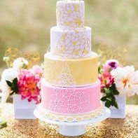 piece montee mariage original gateau theme vintage couleur pastel rose jaune