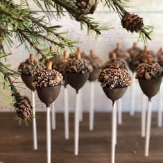 Acorn cake pops for a woodland themed baby shower! #cakepops #cakepop #babyshowe#Baby #shower #cakes