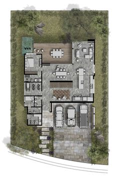 Gallery of Hilca House / Di Frenna Arquitectos - 18 Dream House Plans, House Floor Plans, Atrium House, Duplex House Design, Architecture Presentation Board, Villa Plan, Home Design Floor Plans, Floor Layout, House Layouts