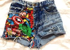 High Waisted Shorts Marvel Super Hero Studs by GoodVibesFabric, $36.00