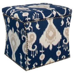 Check out this item at One Kings Lane! Merritt Storage Ottoman, Navy Ikat