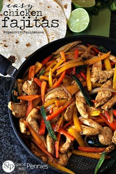 Easy Chicken Fajitas!  These make for a great weeknight meal because they are so quick and easy...  and the kids love to pile them high with their favorite toppings!
