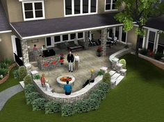 Great back patio area...I hope we have enough room in our backyard once our house is built to do this. Looks awesome.