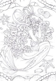 Line art drawing of Sailor Moon by sureya. What makes this stand out is because of the intricate details that the artist has paid attention especially on the hair and the dress. - The magic that Sailor Moon brings Blank Coloring Pages, Mermaid Coloring Pages, Adult Coloring Book Pages, Printable Coloring Pages, Coloring Sheets, Coloring Books, Colorful Pictures, Color Patterns, Mermaids
