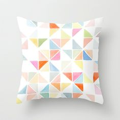 MULTI TRIANGLES I- LIGHT ORANGE & BLUE Throw Pillow by Yao Cheng Design - $20.00