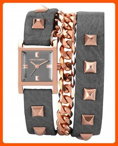 Vince Camuto Women's VC/5088RGGY Rose Gold-Tone Pyramid Studded Double Wrap Grey Leather Strap Watch - All about women (*Amazon Partner-Link)