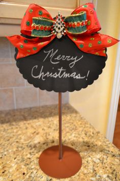 Embellished Christmas Tree Chalkboard by kristenscreations on Etsy, $32.00