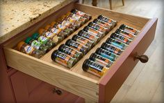 A drawer to organize spices.  Perfect for my OCD issues!