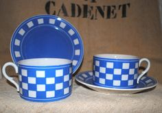 Antique French ceramic CUPS & Saucers LUSTUCRU Checks light blue/white SARREGUEMINES di villavillacolle su Etsy
