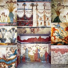 Cycladic Civilization - Bronge age settlement of Thera - 1700 BC - Colourfull Frescoes with nature patterns in Akrotiri - Island of Santorini