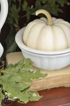 Learn how to create a beautiful display for fall using a hutch full of ironstone. Cozy Kitchen, Kitchen Ideas, Wooden Containers, Autumn Display, Fall Arrangements, Halloween Pumpkins, Halloween 2015, Autumn Decorating, White Dishes