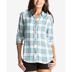 3ca219a4228 Roxy Juniors  Capital Dream Plaid Shirt ( 50) ❤ liked on Polyvore featuring  tops