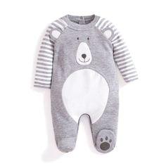 Bear Applique Baby Sleepsuit | JoJo Maman Bebe