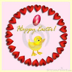 An isolated chicken and a small red egg in a circle of hearts with easter wishes.