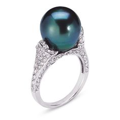 VannaK.com  Diamonds: Round 1.06CT Black Pearl  Assert yourself with a gleaming ring that demands to be seen! Bright diamonds scintillate and curve into ornate designs set in warm gold.