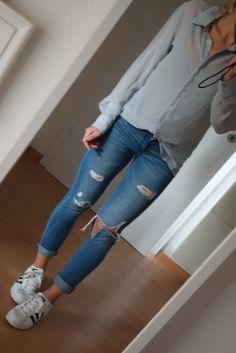 Bluse in grau, oversized, transparente, Blogger, Trend - kleiderkreisel.de