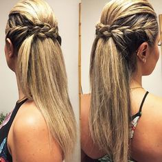 Good morning girls ✨with semi arrested and a braid super charming❤️. It is the hair that everyone loves .Believe by Studio Alessandra Nunes. Ponytail Hairstyles, Pretty Hairstyles, Braided Hairstyles, Wedding Hairstyles, Pinterest Hair, Hair Looks, Hair Inspiration, Short Hair Styles, Hair Makeup