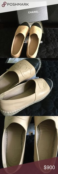 💯% AUTHENTIC CHANEL ESPADRILLES BEIGE/BLACK ➡️     PRICE IS FIRM    If you find a lower price, buy them there.   ▪️Lambskin Beige/Black Chanel Espadrilles  ▪️ worn once mostly indoor/ very clean ▪️Know your size. Runs Small. Fits like an 8  ✅ Comes with box/dust bag  ✅ Do ask questions/additional pics upon request   ✅ ITEM IS FROM A SMOKE FREE AND PET FREE HOME   ⭐️NO worries!!—Poshmark will authenticate this item  I will video item before packing, while packing & at post office.  ❌…