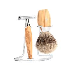 Muhle Kosmo 3-Piece Shaving Set with Safety Razor and Silvertip Badger brush, Olivewood