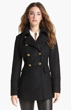 GUESS Double Breasted Peacoat (Online Only) available at #Nordstrom