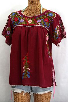 Embroidered Mexican Peasant Top Blouse Lijera by Siren on Etsy, $52.95